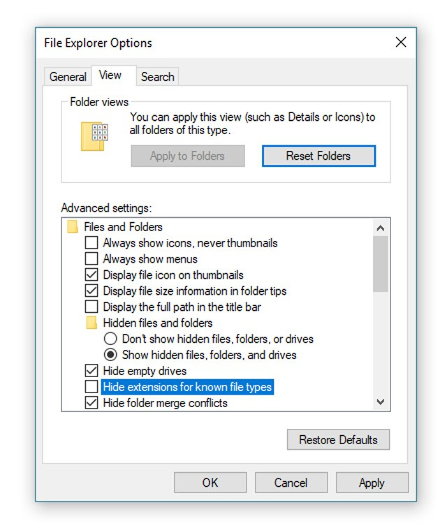 Show Extentions in Windows 10